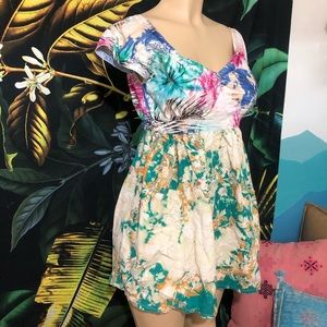 NEW colorful bleached baby doll mini dress size S